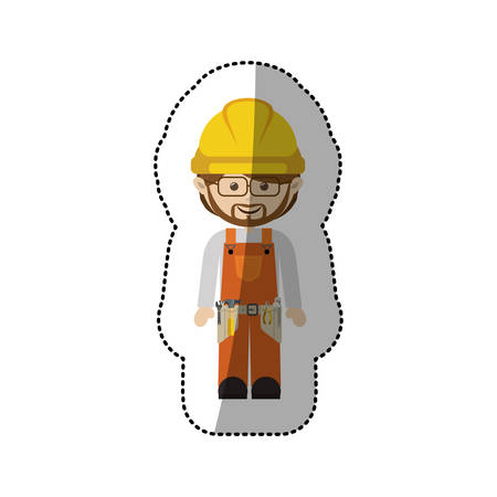 tool belt: sticker avatar worker with toolkit and glasses vector illustration