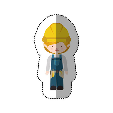 sticker avatar worker with toolkit and blond hair vector illustration