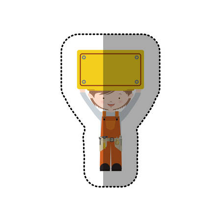 tool belt: sticker avatar worker brown hair with toolkit and plaque up vector illustration