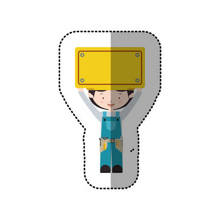 blue overall: sticker avatar worker black hair with toolkit and plaque up vector illustration