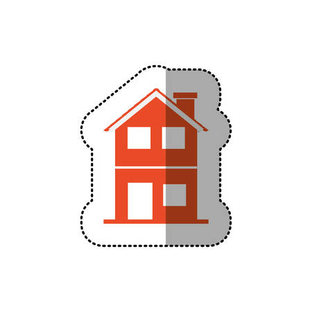 residential tree service: sticker of orange house of two floors . Vector illustration