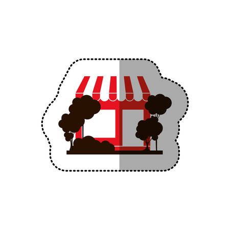 residential tree service: sticker of red supermarket and trees on the sidewalk vector illustration