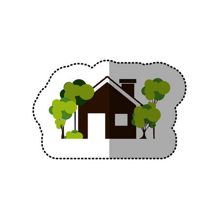 residential tree service: sticker colorful house and trees on the sidewalk vector illustration