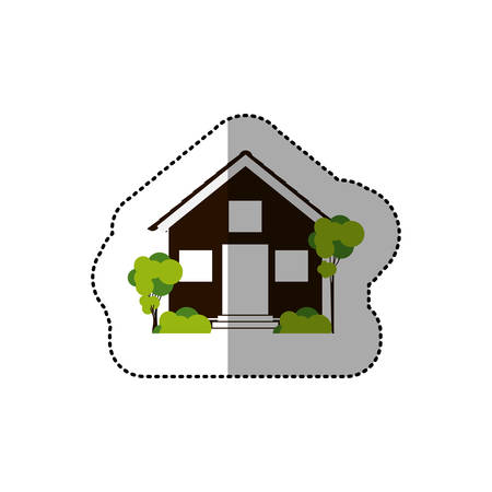 residential tree service: sticker house and trees on the sidewalk . Vector illustration