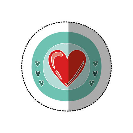 color circular frame with middle shadow sticker with red heart vector illustration