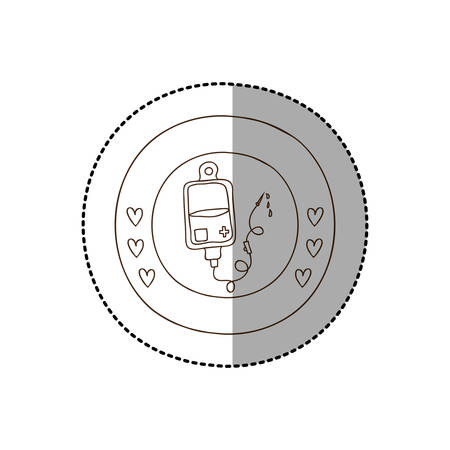 transfuse: monochrome circular frame with middle shadow sticker with bag donate blood vector illustration