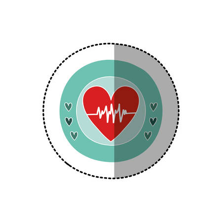 cardiograph: color circular frame with middle shadow sticker with heart with signs of life vector illustration Illustration