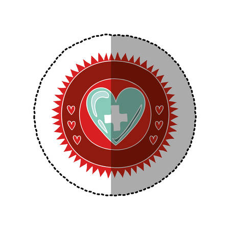 color circular frame with middle shadow sticker of heart with sign cross vector illustration