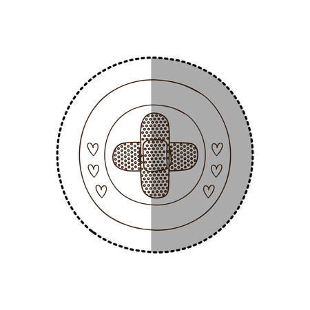 band aid: monochrome circular frame with middle shadow sticker with crossed band aid vector illustration