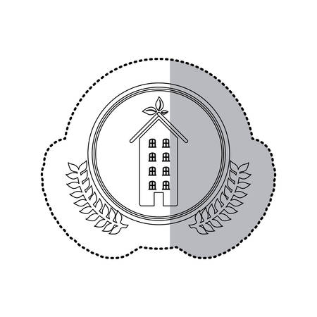 penthouse: sticker monochrome half shadow and apartment with several floors in round frame with crown of leaves vector illustration