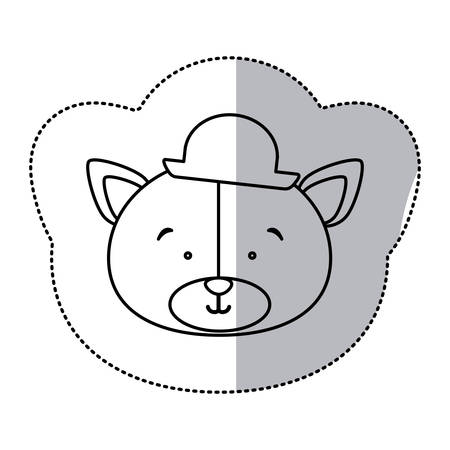 sticker monochrome contour and half shadow with face of groom bear vector illustration