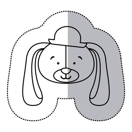 labrador: sticker monochrome contour and half shadow with face of groom dog vector illustration