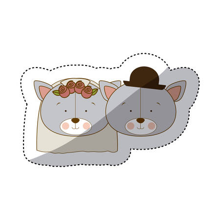 sticker colorful and half shadow with faces couple of married bears vector illustration