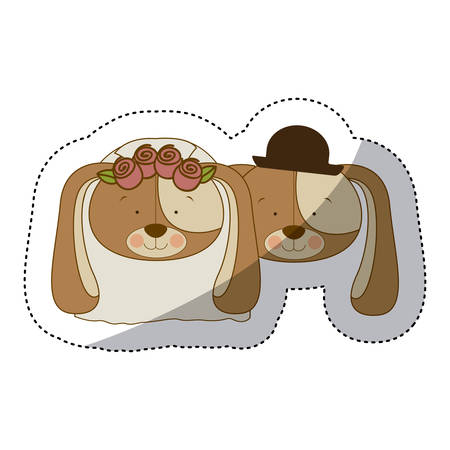 labrador: sticker colorful and half shadow with faces couple of married dogs vector illustration