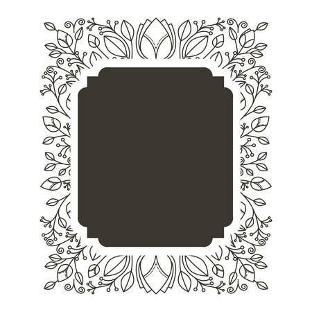 rectangle: silhouette rectangle border heraldic with decorative ornament floral vector illustration