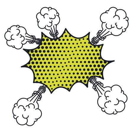 cumulus cloud: irregular cloud scream pop art for dialogue with several cumulus vector illustration