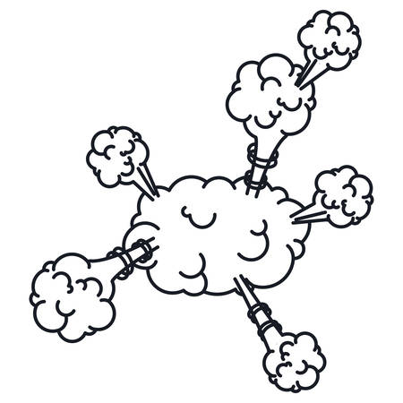 cumulus cloud: explosion steam cloud with cumulus vector illustration