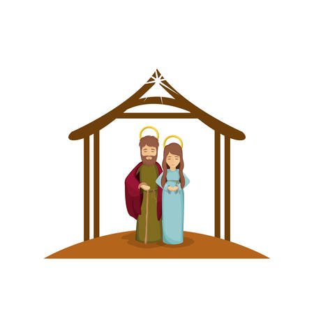 embraced: colorful image with virgin mary and saint joseph embraced under manger vector illustration