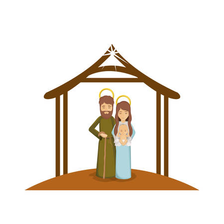 colorful image with saint joseph and virgin mary with baby in arms under manger vector illustration