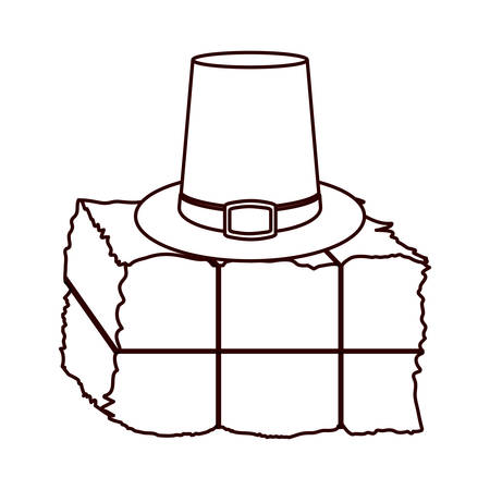 hay field: monochrome silhouette with bale of hay and Farmer hat vector illustration