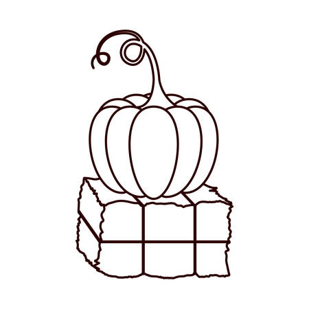 monochrome silhouette with bale of hay and pumpkin vector illustration