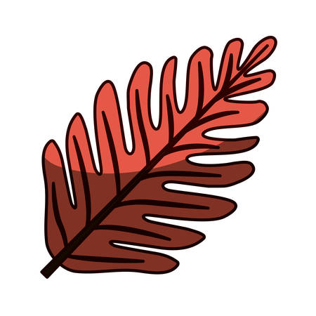 silhouette red aged color with middle shadow of dry leaves vector illustration Illustration