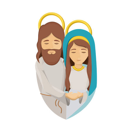 colorful image with half body of virgin mary and jesus embraced vector illustration Illustration
