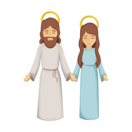 colorful image with virgin mary and jesus holding hands vector illustration
