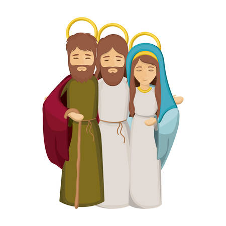 embraced: colorful image with jesus embraced to virgin mary and saint joseph vector illustration