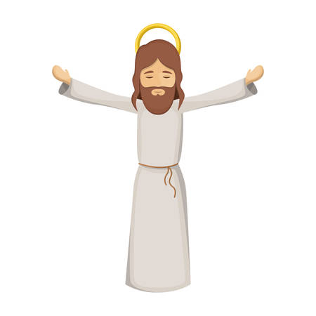 colorful image with jesus with open arms vector illustration