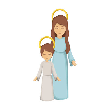long hair boy: colorful image with virgin mary and jesus boy vector illustration
