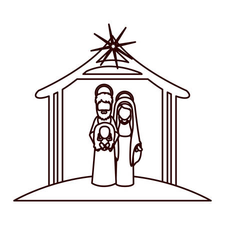 monochrome contour with virgin mary and saint joseph with baby in arms under manger vector illustration Illustration