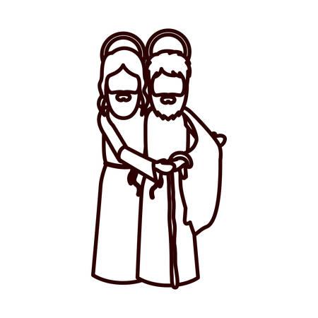 man long hair: monochrome contour with saint joseph and jesus embraced vector illustration