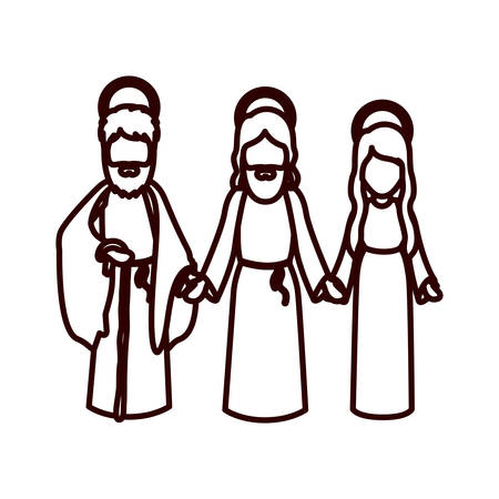 man long hair: monochrome contour with jesus and virgin mary and saint joseph holding hands vector illustration Illustration