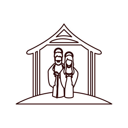 embraced: monochrome contour with virgin mary and saint joseph embraced under manger vector illustration