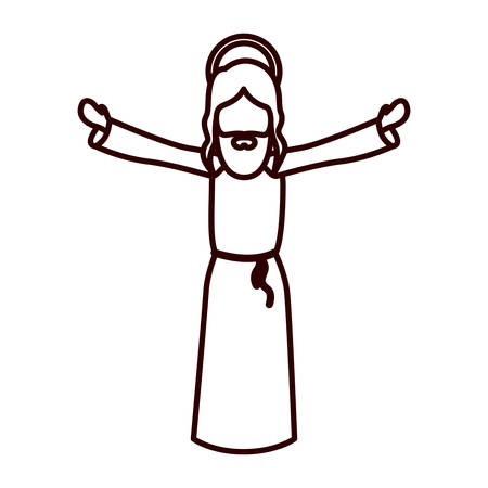cheek: monochrome contour with jesus with open arms vector illustration