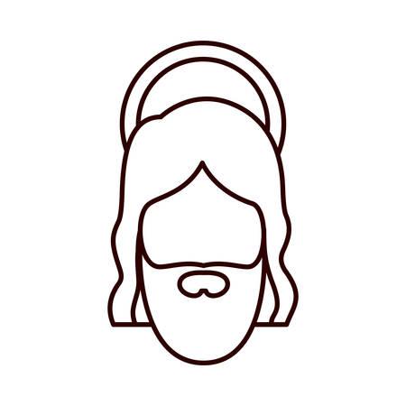 man long hair: monochrome contour of jesus face vector illustration
