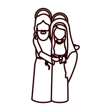embraced: monochrome contour with virgin mary and jesus embraced vector illustration