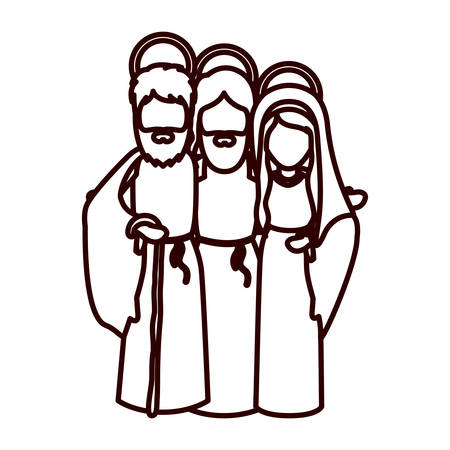 embraced: monochrome contour with jesus embraced to virgin mary and saint joseph vector illustration