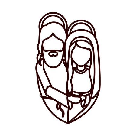 embraced: monochrome contour with half body of virgin mary and jesus embraced vector illustration