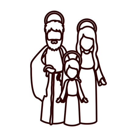man long hair: monochrome contour with jesus child and virgin mary and saint joseph vector illustration