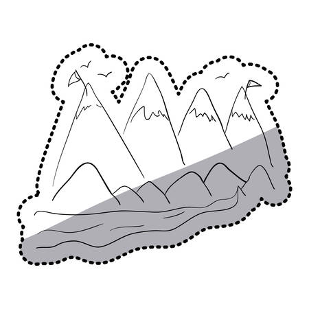 peaks: sticker silhouette landscape with snow peaks and birds vector illustration Illustration