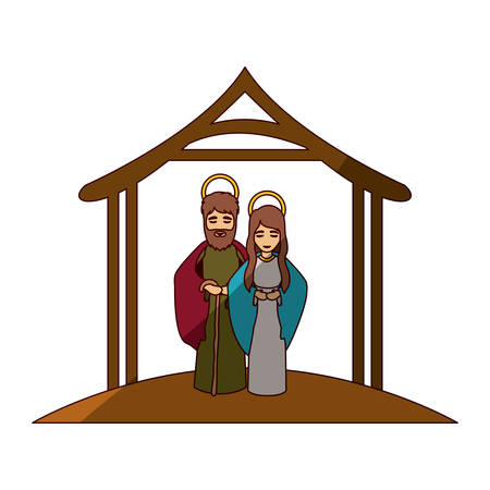 embraced: colorful image with virgin mary and saint joseph embraced under manger and middle shadow vector illustration