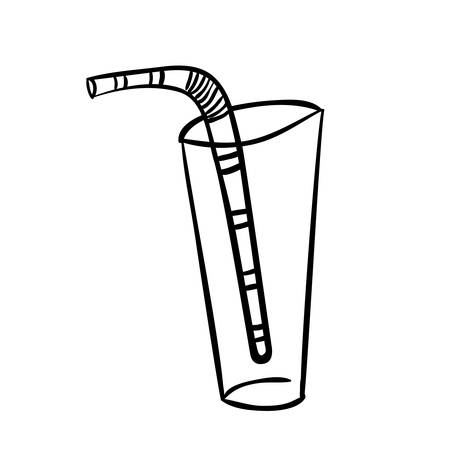 tumbler: silhouette glass tumbler with straw vector illustration