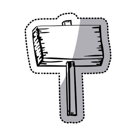 Aufkleber Silhouette hölzerne Schild mit dem Spiel Vektor-Illustration