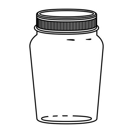 hip flask: silhouette glass container of jam with lid vector illustration Illustration