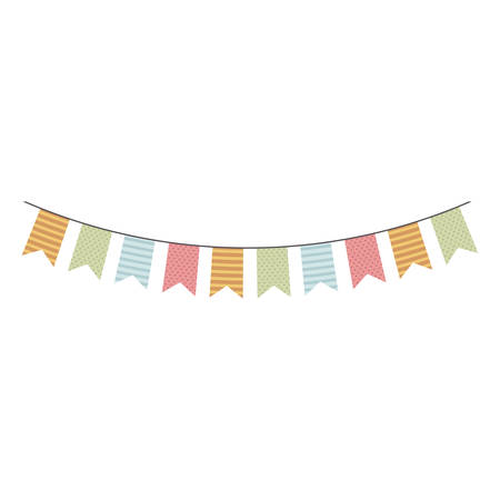 festoon: colorful festoon flags hanging icon design vector illustration Illustration