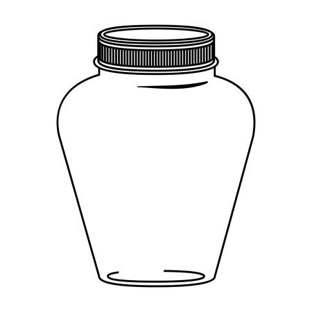 hip flask: silhouette glass jar decorative with lid vector illustration