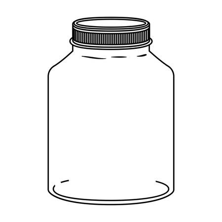 cruet: silhouette glass wide container with lid vector illustration