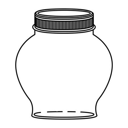 silhouette spherical glass container with lid vector illustration